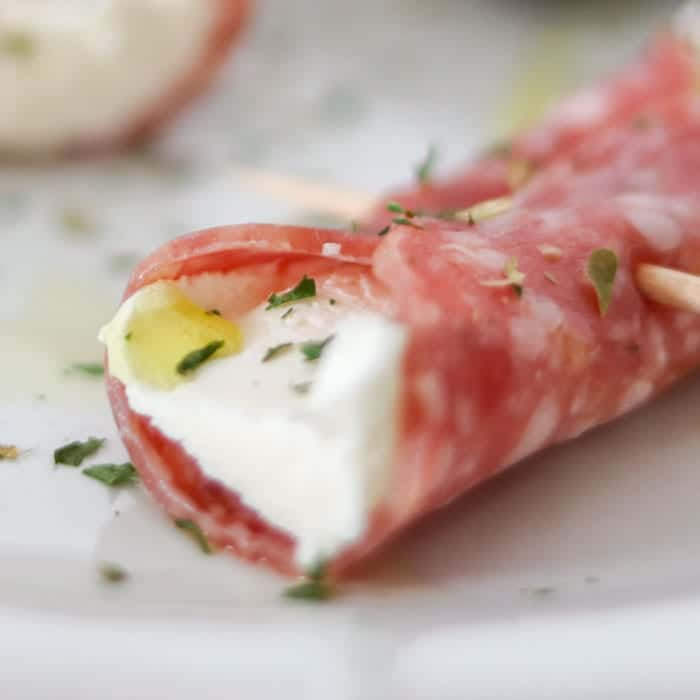 Salami & Cream Cheese Cannoli