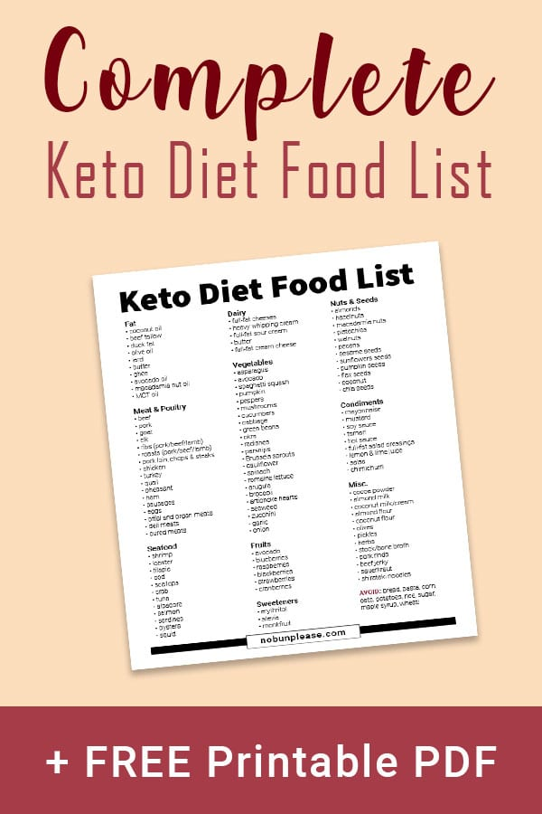 Keto Food List Free Printable