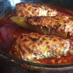 Hot Sausage Stuffed Banana Peppers