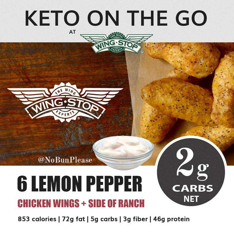 Wingstop Keto Meal Option - Lemon Pepper Wings + Ranch