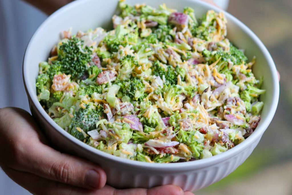 Completed Keto Broccoli Salad with Bacon