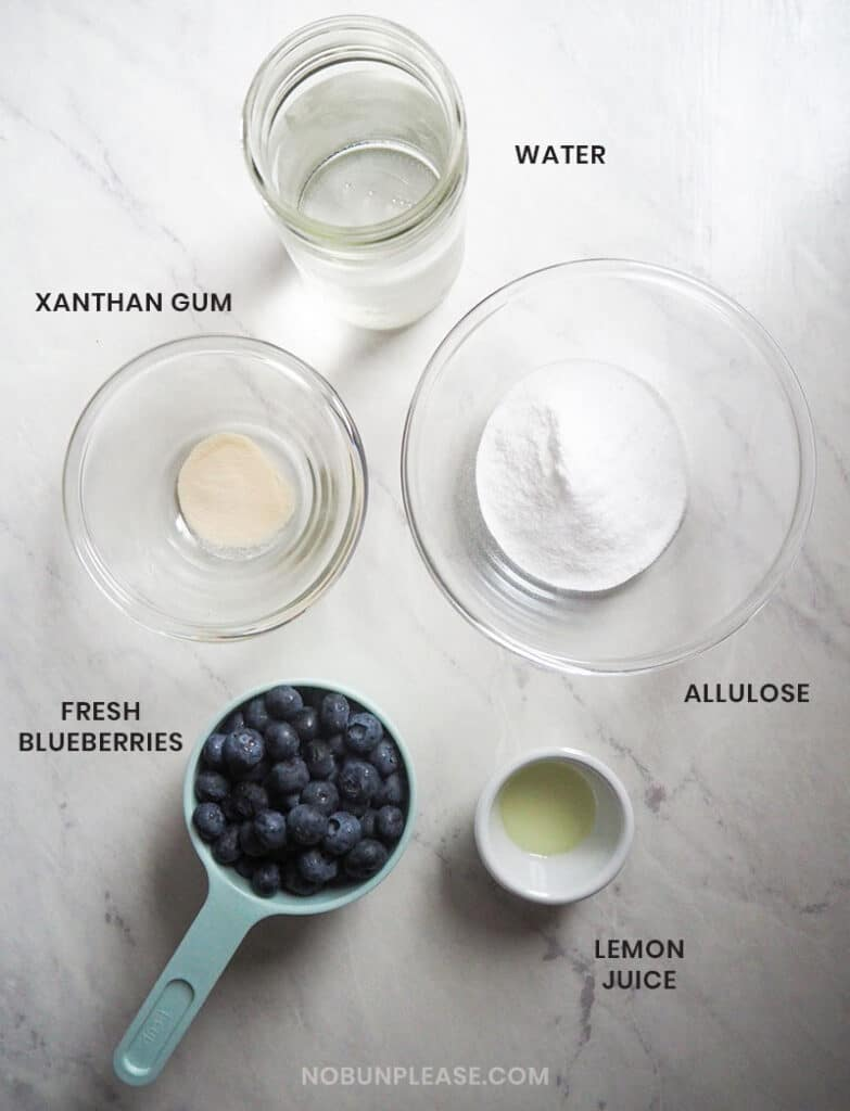 Ingredients for Keto Blueberry Jam